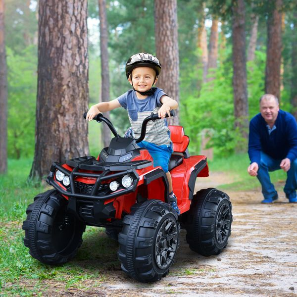 Aosom 12V Battery-powered Child Electric Car with Headlights  Real Driving Sounds  Music & Radio Player  Suspension Wheels for 3-8 Years Old  Red Children Ride-on   Aosom