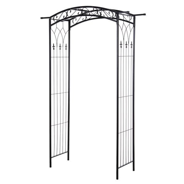 Outsunny Southern/European Style Garden Arbor & Trellis with Beautiful Scrollwork & Arch Design Support Vines & Plants Backyard Metal Pergola for w/ Sturdy Versatile Use | Aosom