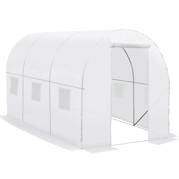 """Outsunny 118"""" x 78.75"""" x 78.75"""" Replacement Greenhouse Cover Tarp with 12 Windows for Ventilation & Zipper Door  White Additional Hot House / Plant Nursery w/   Aosom"""