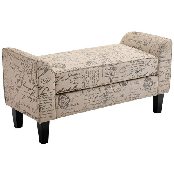 """HomCom 42"""" Linen Upholstered Accent Ottoman Bench With Signature Print Fabric 