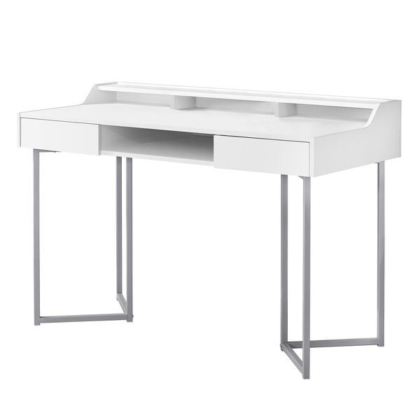 "Monarch 48"" Contemporary Compact Computer Writing Desk with Angular Legs - White / Silver Metal 