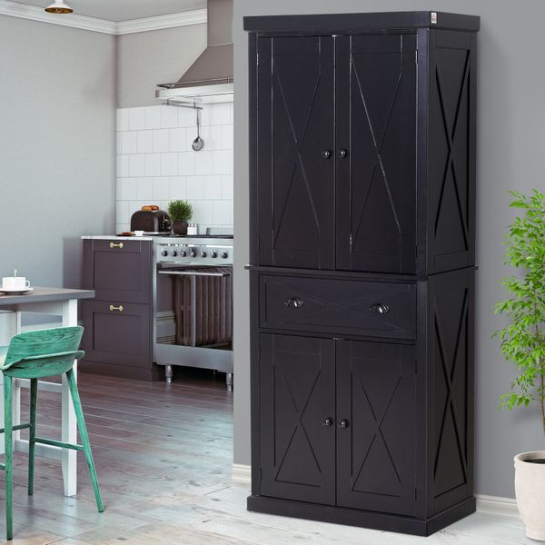 HOMCOM 5ft Tall Wood Kitchen Storage Cabinet  with Adjustable Shelves  2 Wood Pantries  Drawer  and Sturdy Design  Black   | Aosom