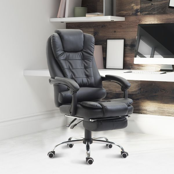 HomCom Reclining Office Chair With Footrest Black   Aosom