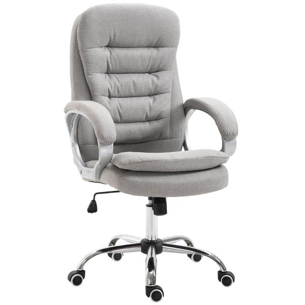 Vinsetto Adjustable Height Ergonomic High Back Home Office Chair with Armrests - Grey|AOSOM.COM
