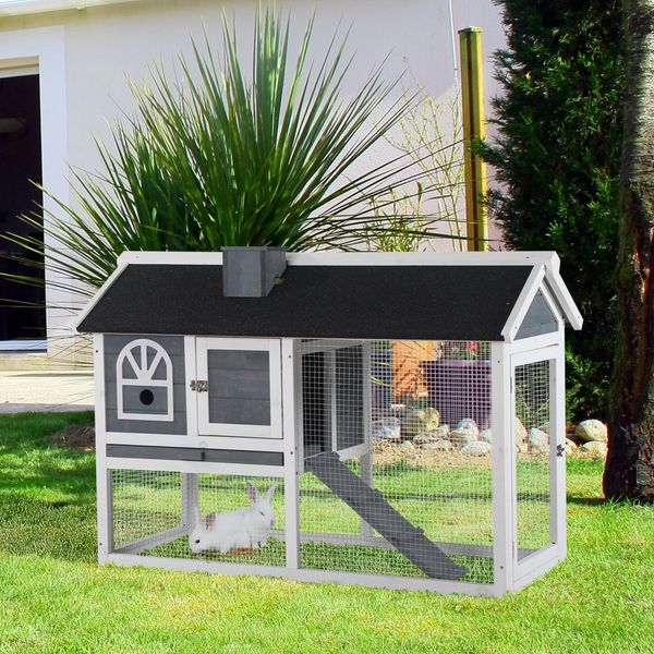 """Pawhut Outdoor Rabbit Hutch Cage With Roof, Slide-Out Tray And Ramp 47.25"""" L X 23.5"""" W X 31"""" H - Grey & White   Aosom"""