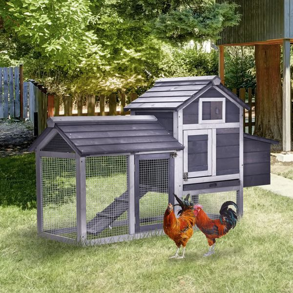 """PawHut 59"""" Solid Wood Enclosed Outdoor Backyard Chicken Coop Kit with Ventilation Door, Removable Tray & Chicken Nesting Box Grey   Aosom"""