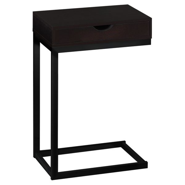 """Monarch 24"""" Contemporary Wood Grain-Look Black Metal Base C-Shaped Side Accent Table with Storage Drawer - Dark Espresso Brown Finish 