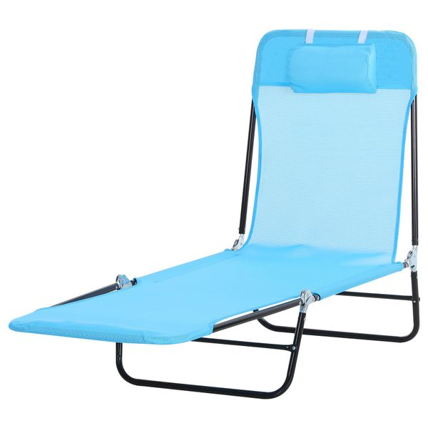 Outsunny Adjustable-Level Chaise Sun Lounge Chair for the Beach Patio or Deck w/ Folding Design & Sturdy Frame Blue and Portable Lounger Adjustable Backrest Portable | Aosom