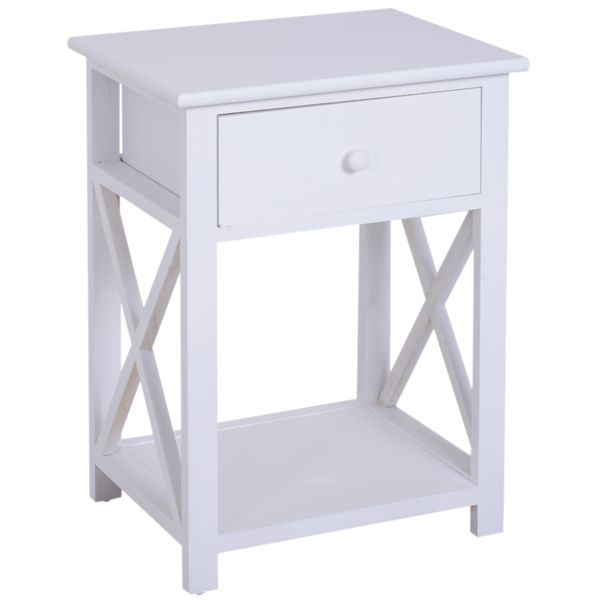 """HomCom 22"""" Traditional Wood Accent End Table With Storage Drawer - Flat White