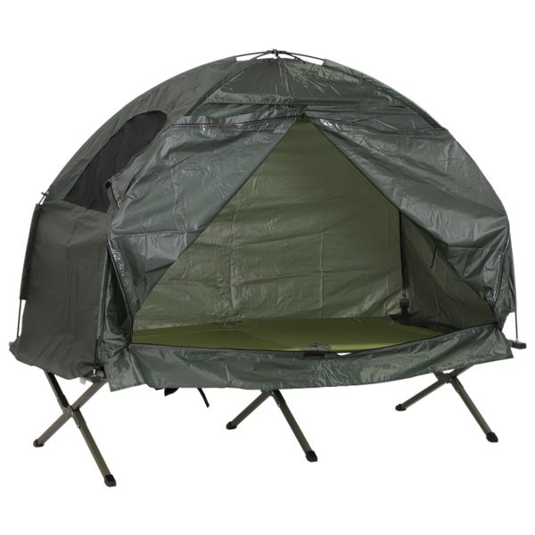 Outsunny 1 Person Compact Pop Up Portable Folding Outdoor Elevated Camping Cot Tent Combo Set|AOSOM.COM