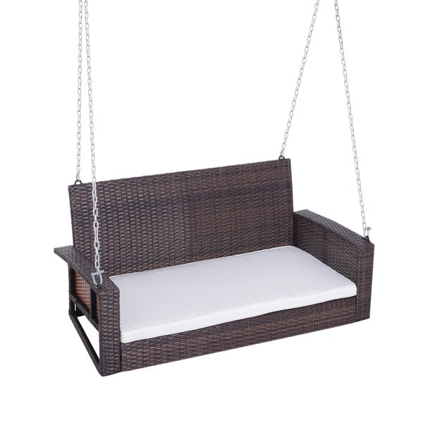 Outsunny 2-Person Outdoor Wicker Hanging Porch Swing Bench with Super Comfortable Lounging Cushions & Curved Seat - Brown | Aosom.com