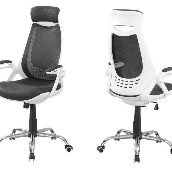 Monarch Ergonomic Adjustable Swivelling High Back Executive Office Chair - White / Grey | Aosom