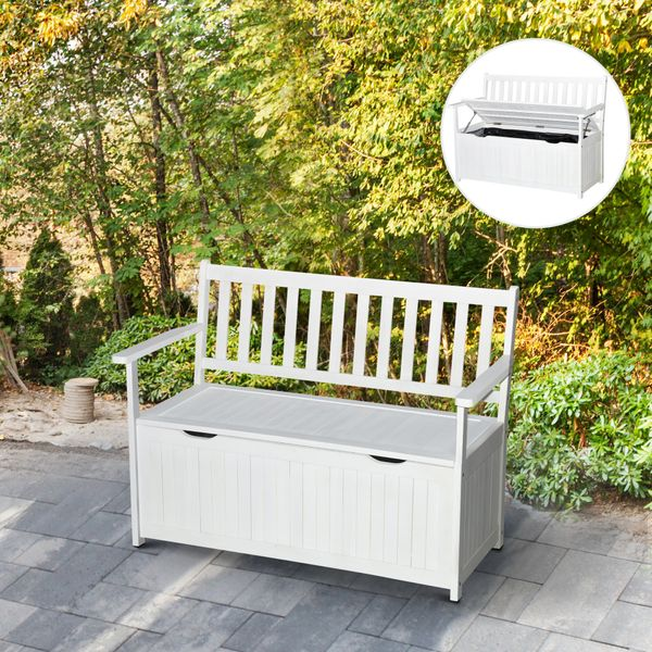 "Outsunny 47.25"" Wooden Outdoor Storage Bench with PE Lining Deck Box Storage Container and Seat White Acacia Wood Outside Ottoman Lift Up Lid & Weather-Resistant 