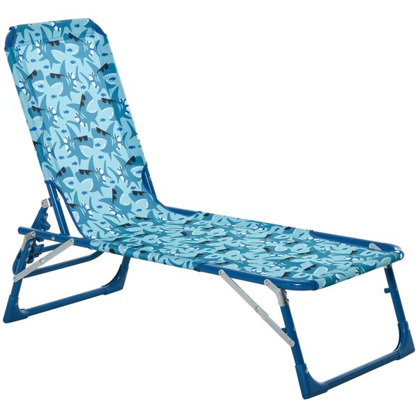 """Outsunny Chaise Lounge Chair for Kids Patio Shark Pattern Folding Recliner Portable with Adjustable Backrest Outdoor Beach Pool Camping 46.5"""" x 15.75"""" x 9.5"""" Blue Foldable Lightweight 