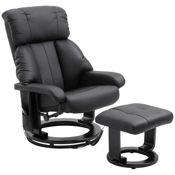 HOMCOM PU Leather Swivel Heated Massage Chair Recliner and Ottoman with Bentwood Base - Black | Aosom