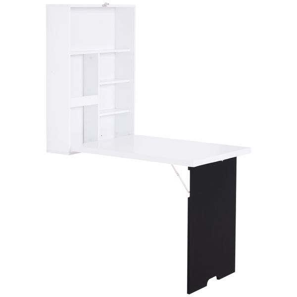 HOMCOM Wall Mounted Foldable Desk for Writing or Computer with a Blackboard for Notes Book Storage and Space Saving | Aosom