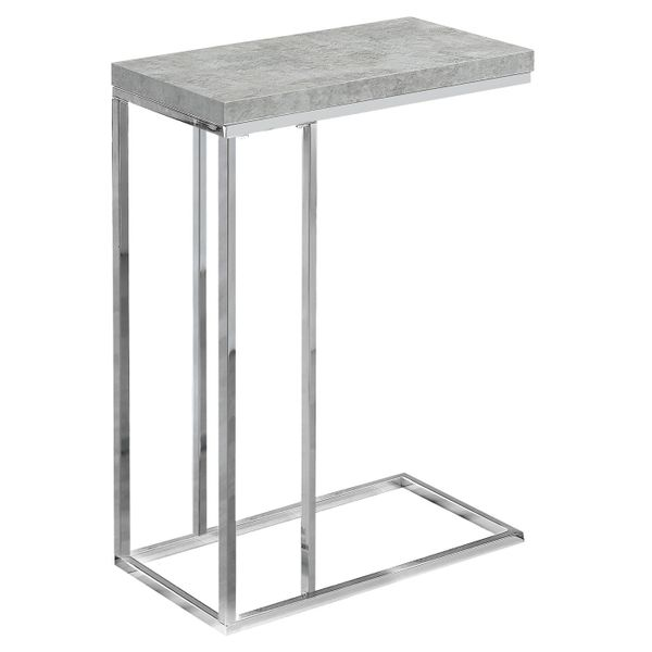 """Monarch 25"""" Contemporary Polished Chrome Metal Frame C-Shaped Side Accent Table - Grey Cement-Look Finish 