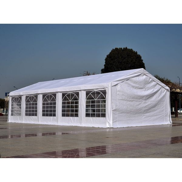 Outsunny White 32'x16' Heavy Duty Carport Canopy Wedding Tent Garage / 16' x 32' Outdoor Party with Sidewalls - Spacious Protective Carport Canopy | Aosom
