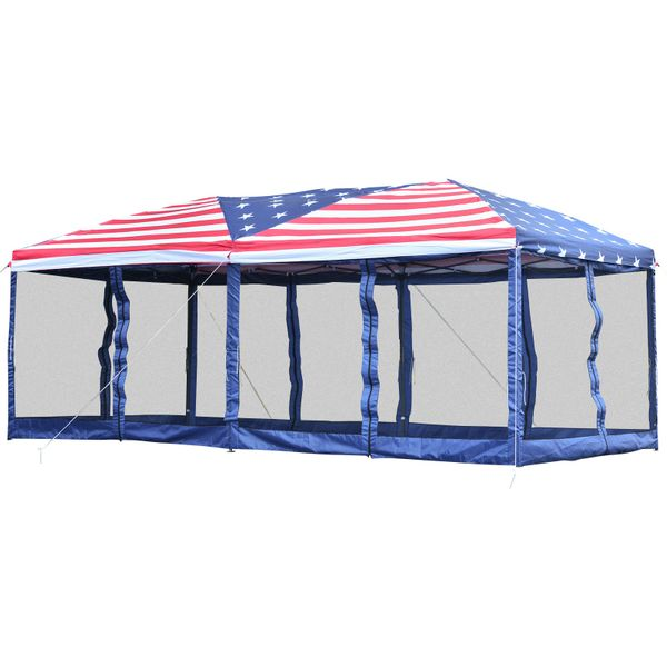 Outsunny 10x20 Pop Up Canopy Wedding Party Tent Gazebo with Removable Mesh Sidewalls - American Flag Print   Aosom