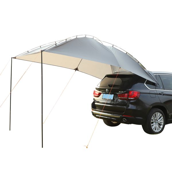 Outsunny Easy-Out Self Standing Rooftop Car Awning with PU Polyester Fabric for Sun-Shade & UV/Water Protection Grey Self-Standing w/ | Aosom