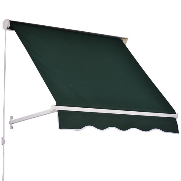 "Outsunny 4"" Arm Manual Drop Retractable Window Awning Canopy Sun Shade Shelter 