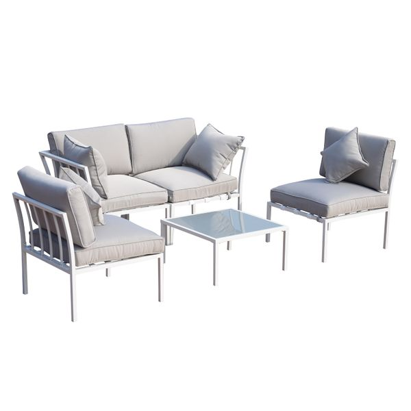 Outsunny 4 Piece Outdoor Furniture Patio Conversation Seating Set - White/Gray 5 Cushioned Sofa Sectional Outdoor Living room Set|Aosom.com