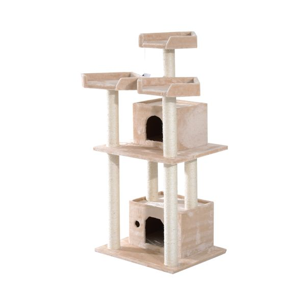 "Pawhut 108"" Floor-to-Ceiling Adjustable Staggered Climbing Cat Tree Tower"