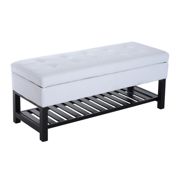 "HomCom 44"" PU Leather Tufted Shoe Rack Ottoman Storage Bench