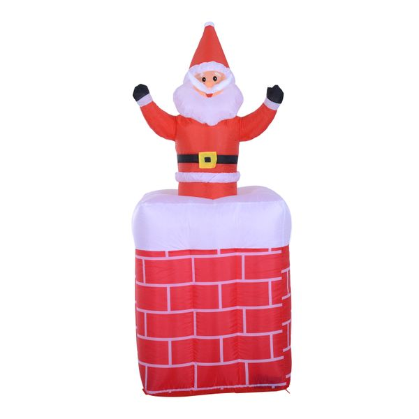 """HomCom 6"""" Tall Outdoor Animated Airblown Inflatable Christmas Lawn Decoration - Santa in a Chimney / inflatable santa christmas lawn decoration 
