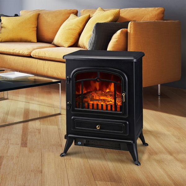 Homcom Electric Freestanding Fireplace Heater 21 H 1500w A Class Compact Freestanding Electric Wood Stove Fireplace