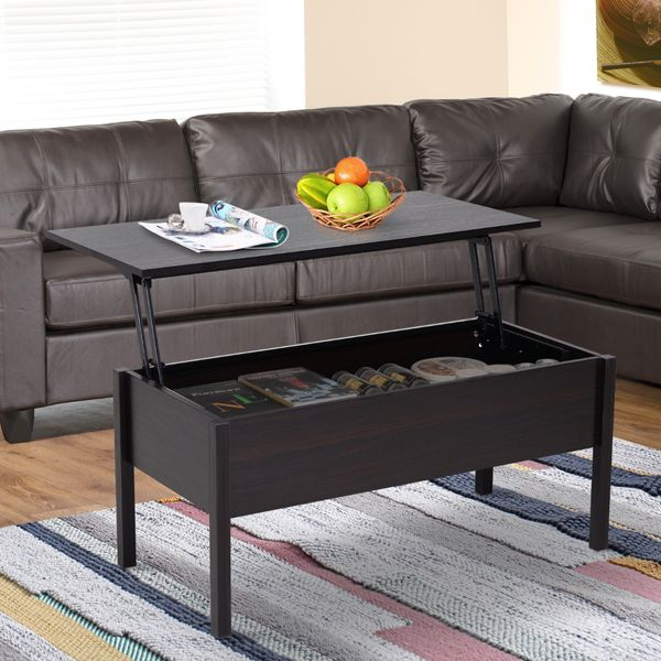 """Homcom Side Tables For Living Room 39"""" Lift Top Coffee Table Modern Lift Top Storage Coffee Table Desk With Hidden Storage - Brown Woodgrain 