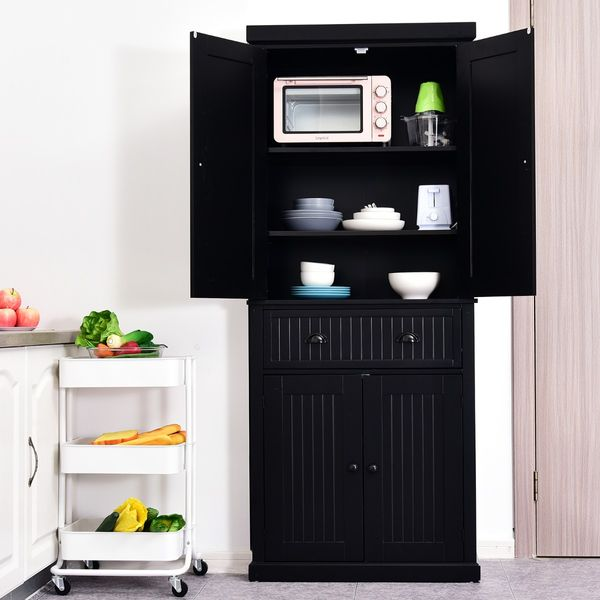 HOMCOM Traditional Freestanding Kitchen Pantry Cabinet Cupboard with Doors and Shelves Adjustable Shelving Black Wooden Organizer Home Furniture | Aosom