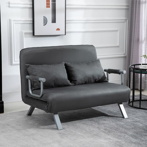 HomCom Twin Size Folding 5 Position Steel Convertible Sleeper Bed Chair - Grey / Lounger Faux Suede Microfiber convertible sleeper sofa | Aosom