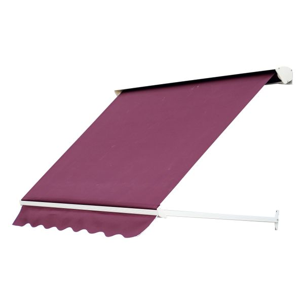 "Outsunny 6' Drop Arm Retractable Window Awning - Red / 71"" Manual Wine 6ft Sun Shade easy retractable awning 