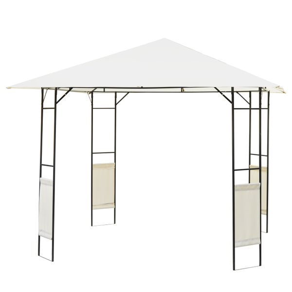 "Outsunny 10""x10"" Patio Gazebo Canopy Tent Steel Frame Shelter Awning - Cream 