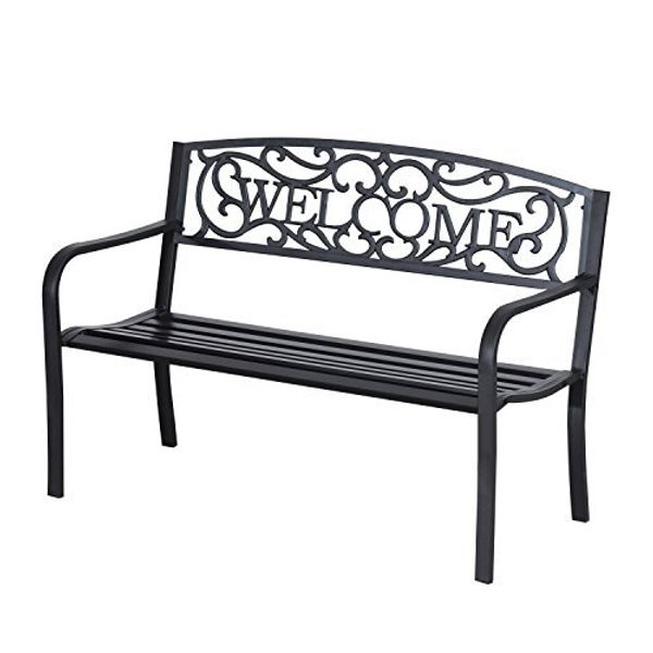 "Outsunny 50"" 2 Seat Patio Decorative Lawn Garden Bench Steel - Welcomeing Vines 
