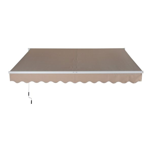 Outsunny 13' X 8' Manual Retractable Sun Shade Patio Awning - Beige Outdoor Canopy Deck Door Shelter|Aosom.com