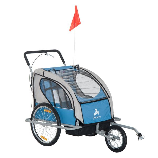 Aosom 2-in-1 Double Child Bike Trailer and Stroller - Blue  Elite 2in1 Jogger child bike trailer and stroller|Aosom.com