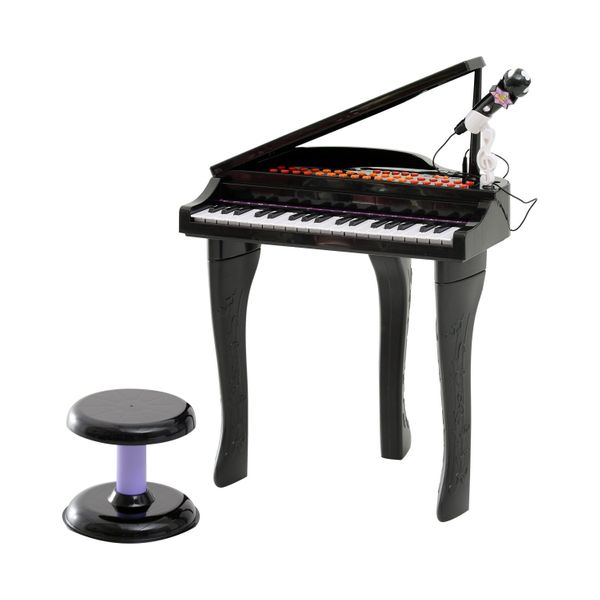 Qaba 37 Key Kids Baby Grand Digital Piano with Microphone and Stool - Black / miniture grand digital piano with microphone | Aosom