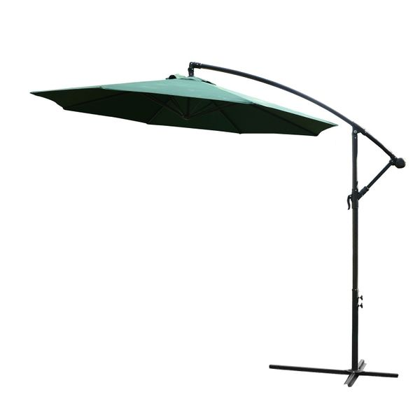 "Outsunny 10"" Cantilever Hanging Tilt Offset Patio Umbrella with Stand - Green / hanging offset patio umbrella 