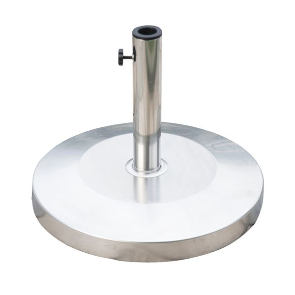 "Outsunny 18.9"" Round Decorative Stainless Steel Umbrella Base Stand Holder 