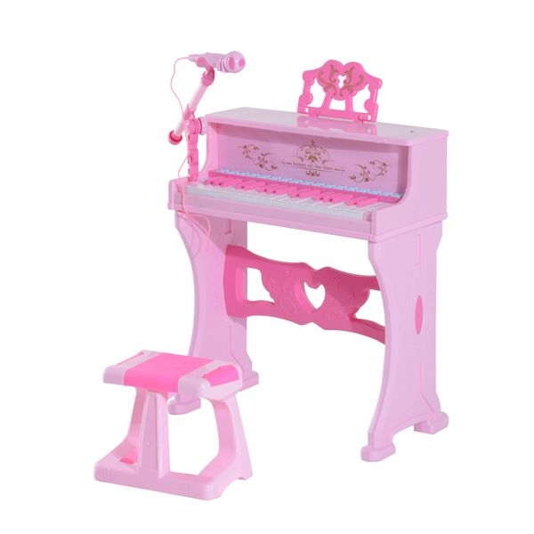 Qaba Kids 37 Key Lovely Princess Electronic Piano Keyboard with Stool and Microphone - Pink|AOSOM.COM