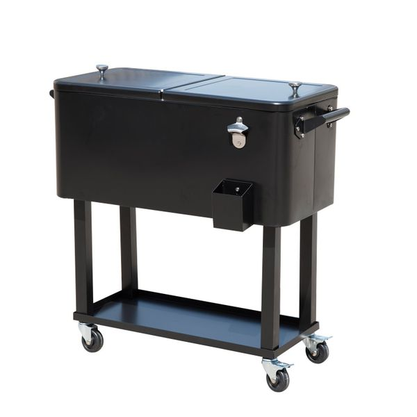 Outsunny 80 Quart Outdoor Rolling Ice Chest Portable Patio Party Drink Cooler Cart - Black Stainless Steel Beer Beverage Cooler with Bottle Opener, Catch Tray, and Drain Plug | Aosom
