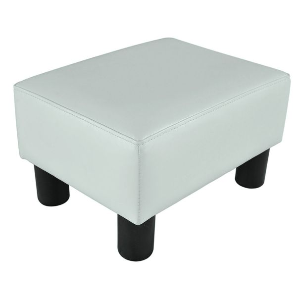 "HomCom 15"" Upholstered Padded Faux Leather Footrest Ottoman Stool Seating - Bright White 