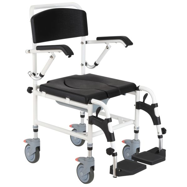 HomCom Personal Mobility Assist Waterproof Commode Shower Transport Medical Rolling Chair | Aosom
