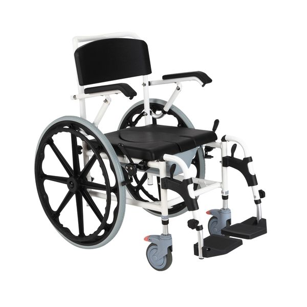HomCom Personal Mobility Assist Waterproof Commode Shower Wheelchair Self-Transport Cart | Aosom