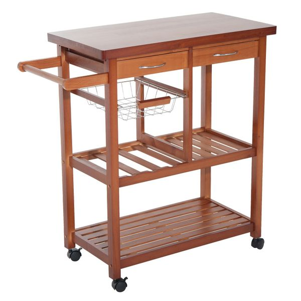 HomCom Kitchen Cart w/ Double Drawers & Lockable Wheels / Wooden Storage Microwave Trolley rolling kitchen cart | Aosom