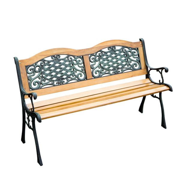 "Outsunny Outdoor 50"" Patio Porch Deck Hardwood Cast Iron Garden Bench Chair Love Seat Porch Swings + Patio Benches 