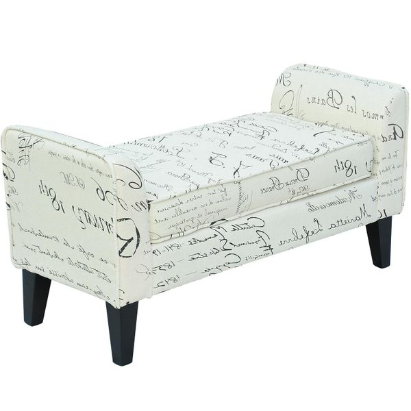 "HomCom 42"" Linen Upholstered Accent Ottoman Bench With Signature Print Fabric 