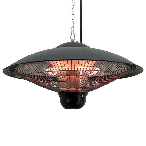 Outsunny 1500 Watt Outdoor Ceiling Mounted Electric Hanging Patio Heater Lamp with Remote / Round w/LED Light ceiling mounted electric patio heater | Aosom